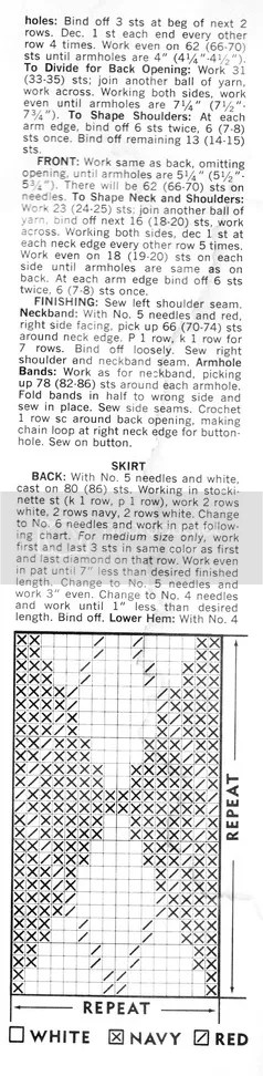 chloeheartsowls.com vintage knitting pattern 1960s shell and argyle skirt