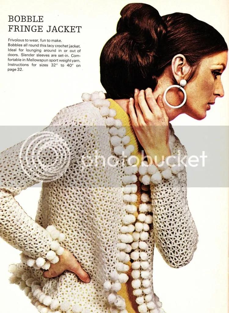 chloeheartsowls.com 1960s crochet pattern bobble fringe jacket