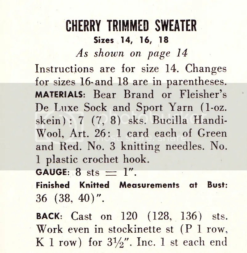 chloeheartsowls.com vintage knitting pattern 1950s cherry trimmed sweater
