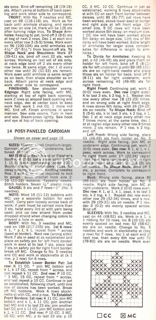 chloeheartsowls.com vintage knitting pattern - 1960s posy-paneled cardigan part 1