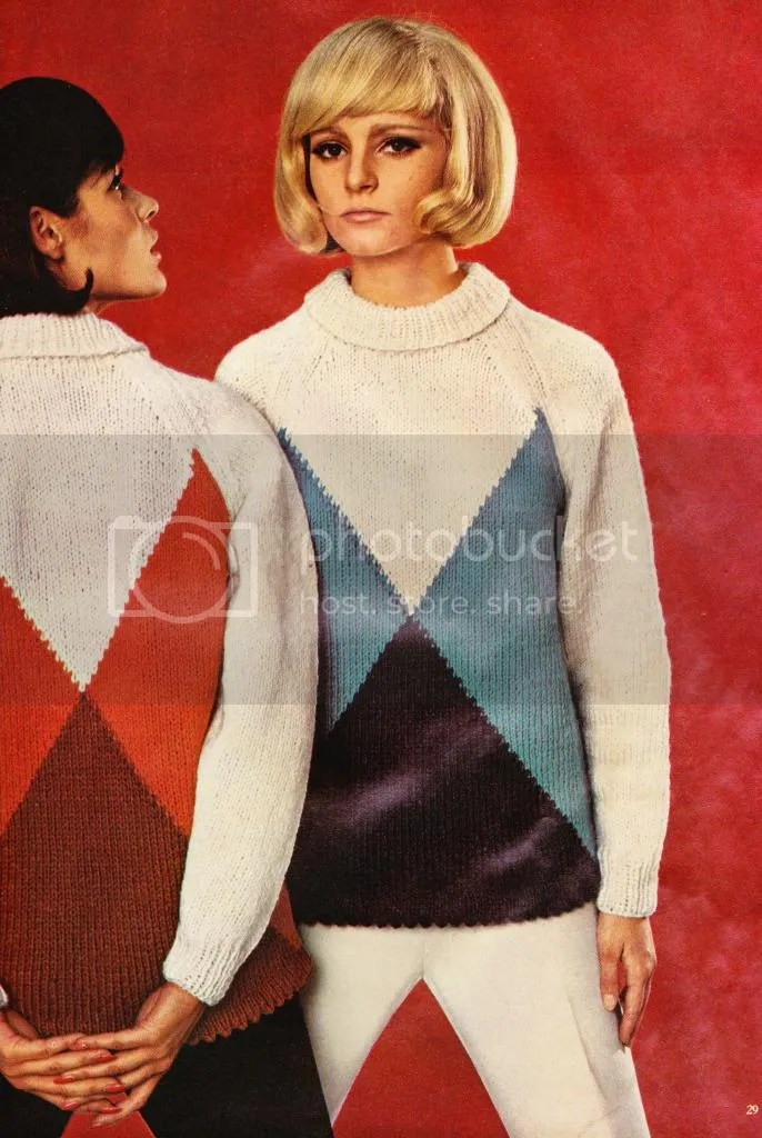 chloeheartsowls.com vintage knitting pattern 1960s geometric pullover