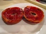 Sweet Note Gluten Free Chocolate Swirl Bagels topped off with my own homemade strawberry jam