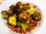 Roasted Broccoli over a Wild Rice Blend using Grandpa's Gourmet Gluten Free Citrus Herb Chicken Encrusting