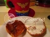 Sweet Note Gluten Free Pumpkin Spice Bagel with a schmear of vegan cream cheese and organic pumpkin butter