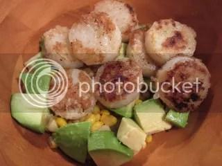 Fresh Corn with Avocado, Onion, and Vegan Spiced Scallops