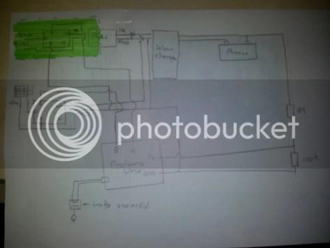 schema voor zonnepaneel, arduino en PSU