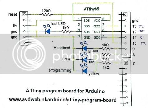 Aansluitingen ATTiny85 en de Aruino