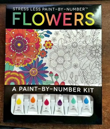 Stress Less Paint-By-Number Flowers: A Paint-By-Number Kit for Mother's Day
