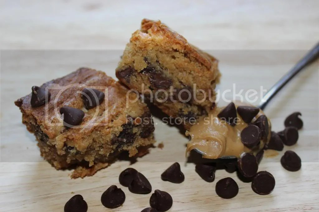 Peanut Butter Blondies with Chocolate Chips - Vegan Adaptable