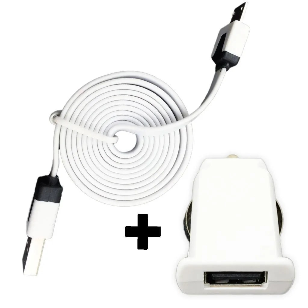 Micro Usb Car Charger Flat Data Cable Adapter For