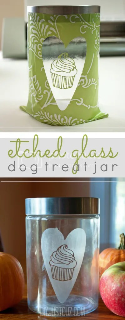 Dog treat jars don't have to be plain--this tutorial shows a simple way to jazz up a dog treat jar (or any glass jar!) for maximum cuteness! @diyjustcuz www.diyjustcuz.com