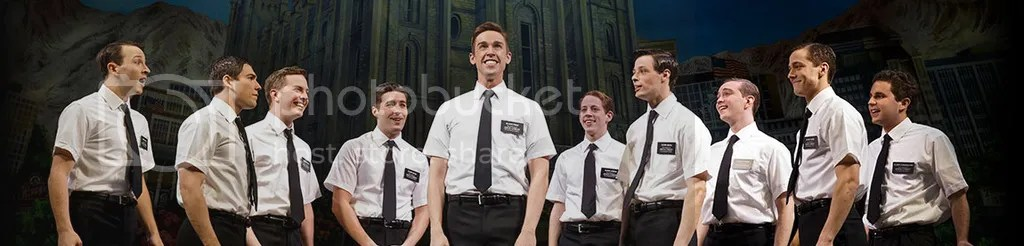 Image of the Broadway cast take from bookofmormonbroadway.com
