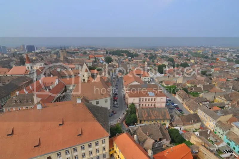 Looking down on the city of Sibiu from the top of the steeple of the Evangelical Church.