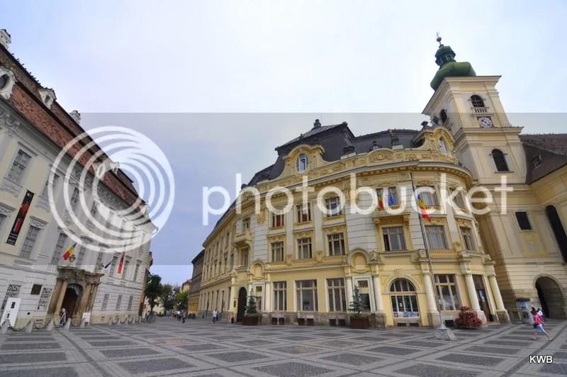 Elaborately designed German/Hungarian style architecture surrounds Huet Square.