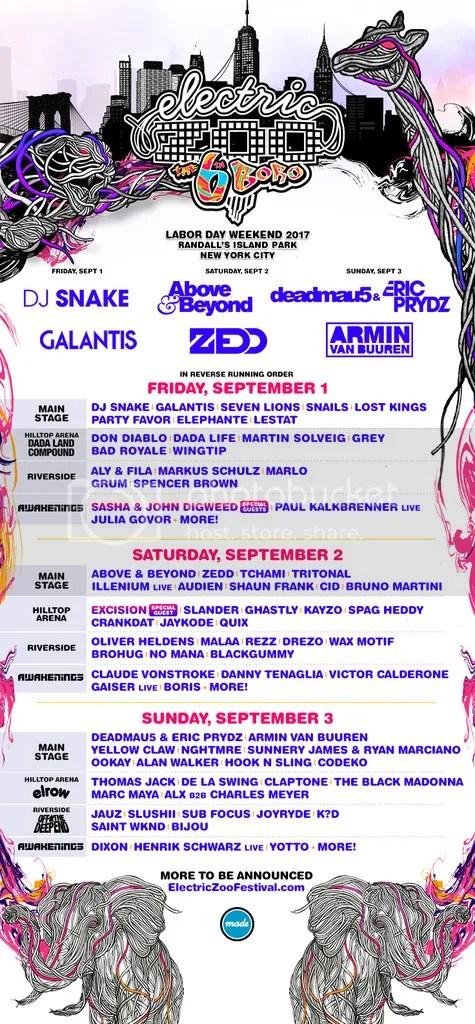 Electric Zoo Daily Lineup