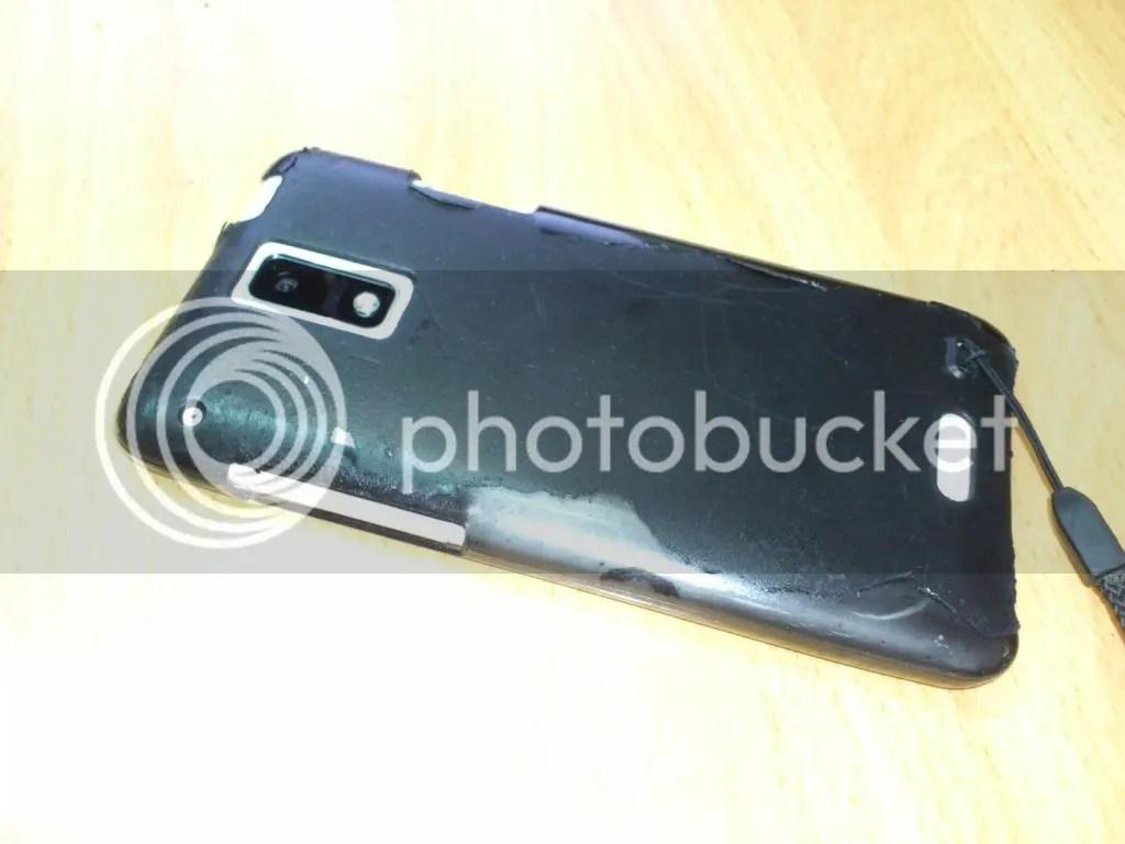 ラバーコーティングしたもののボロボロにはげてしまった初代HTC J用ジャケット