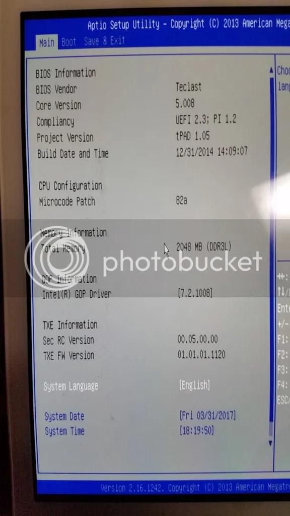 Teclast X98 Air 3G (C9J6)のBIOSのmainメニュー