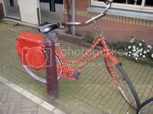 bright red bike