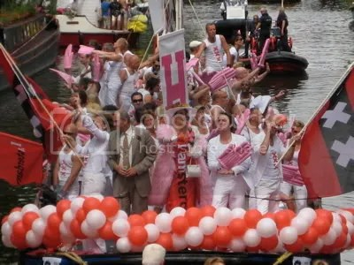 Job Cohen, mayor of Amsterdam takes part in Gay Pride