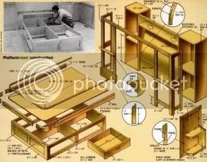 platform bed plans with storage