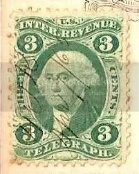 U.S. revenue telegraph tax stamp