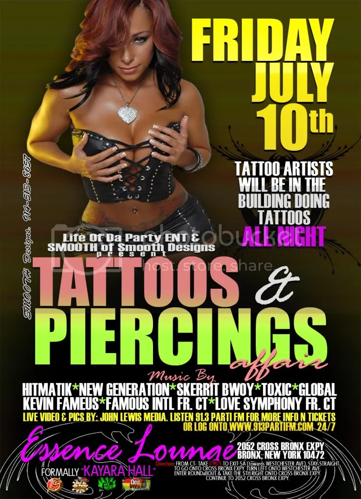 TATTOOS N PIERCINGS JULY 10TH @ ESSENCE LOUNGE. WE WILL B DOING TATTOOS IN