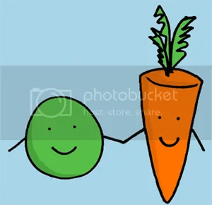 A pea and a carrot