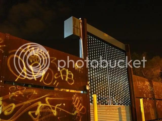 parking lot security gate, bushwick, brooklyn
