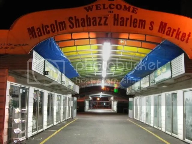 Malcolm Shabazz market at night, Harlem, nyc