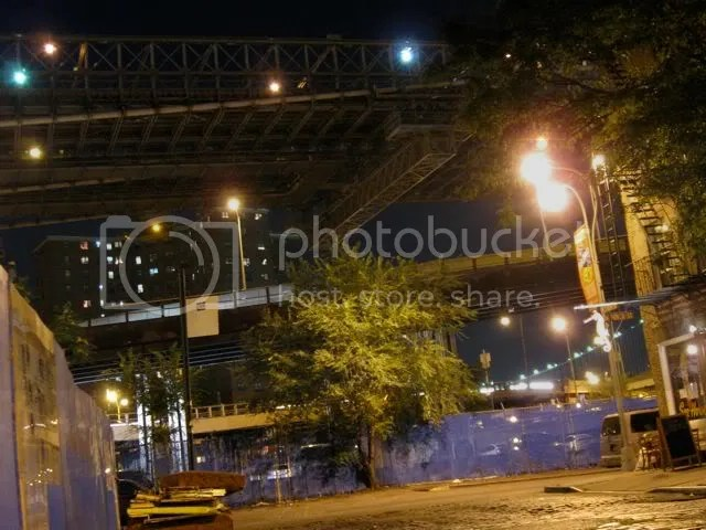 Under the Brooklyn Bridge, on Front Street