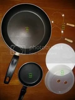 1. Egg rings 2. Microwaveable egg cooker 3. Mini Teflon frying pan 4. Teflon frying pan