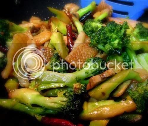 Vegetarian Broccoli KungPow with Konyakku Squid