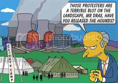 Mr. Burns on the Climate Camp