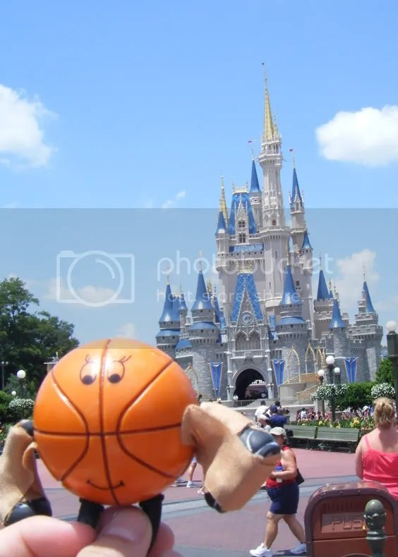 I took this as I was walking down Mainstreet USA.  Whos that orange stud in front of the castle?