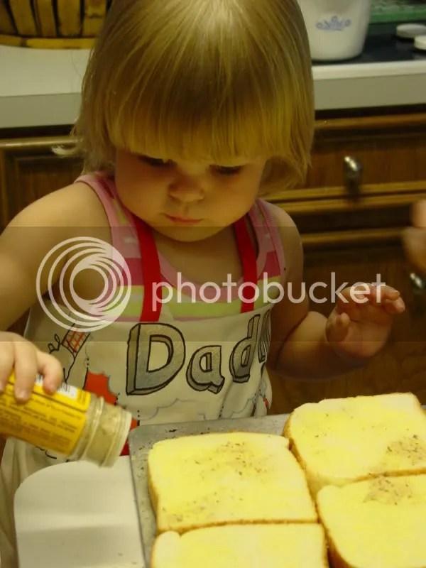 Making garlic toast with Grandmommy