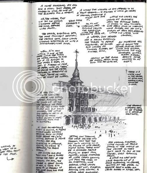 plaza de mayor, madrid, spain, sketch