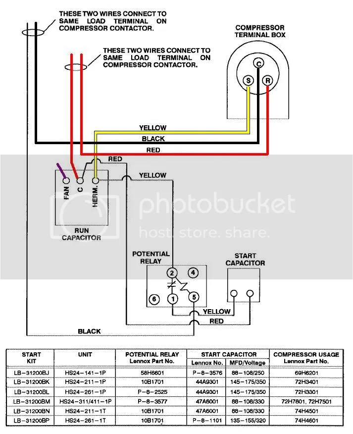LenHS24diagramw_fieldstartkit dual capacitor wiring diagram efcaviation com potential relay start capacitor wiring diagram at mifinder.co