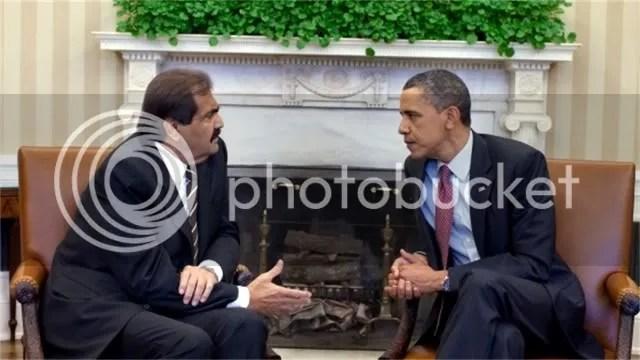 Emir Hamid of Qatar with President Barack Obama