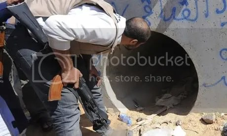 Drain where Muammar hid from NATO air strike, found, killed