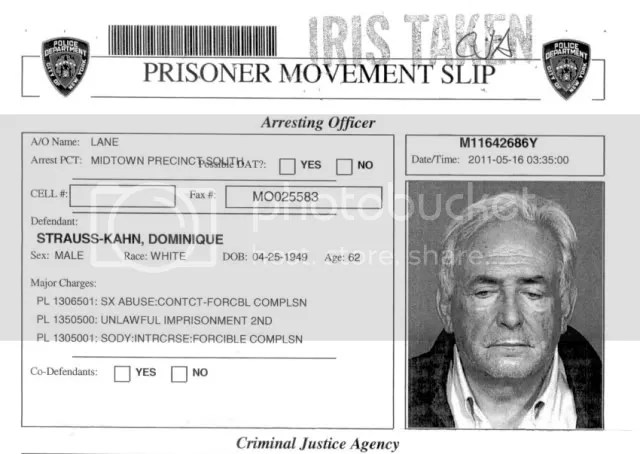 New York mug shot of Dominique Strauss-Kahn