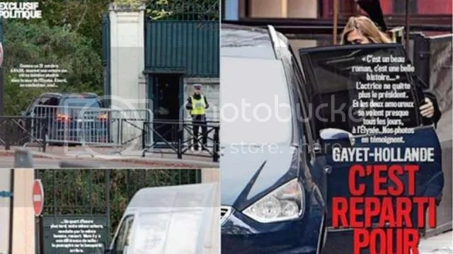 The photos that surfaced November 6 are the first time Gayet has been caught on camera coming out of the Elysee palace.   The magazine said the photographs were taken on Oct. 30, on the actress' return to Paris after taking part in Tokyo Film Festival.