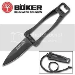 Boker Black Magnum Folding Neck Knife