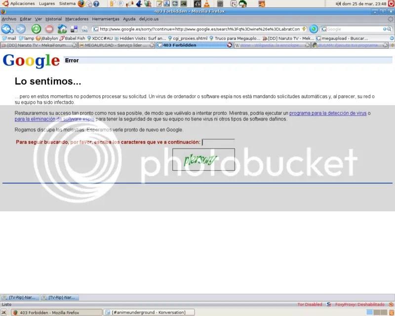 Error Google Tor