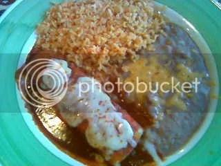 Beef enchiladas w rice & beans