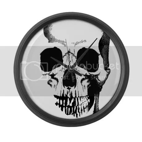 Skull Face Large Wall Clock on CafePress