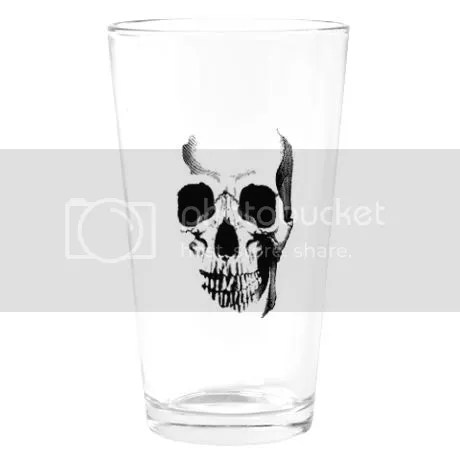 Skull Face Pint Glass on CafePress