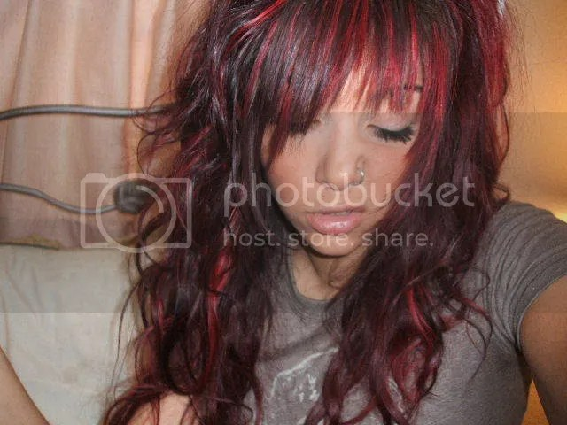 Redhead with Dark Red Scene Hair and Nose Piercing/Ring