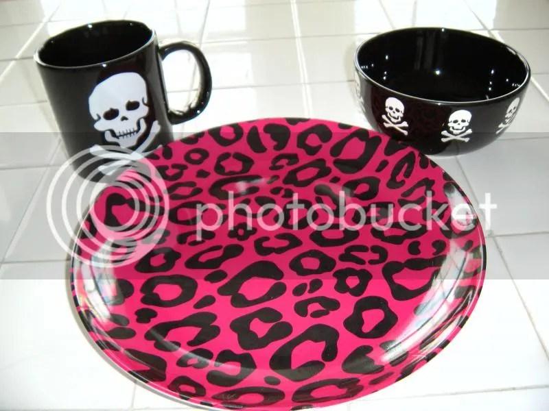 Black Waechtersbach Skull Bowl Mug Leopard Print Hot Pink Melamine Plate dishware 2