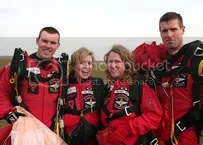 Carrie and Rachel with Red Devil skydivers