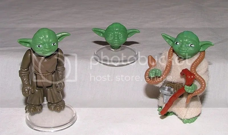 Ledy Yoda (Unpainted limbs), Ledy Yoda Head (Unpainted overstock) & Production Ledy Yoda.